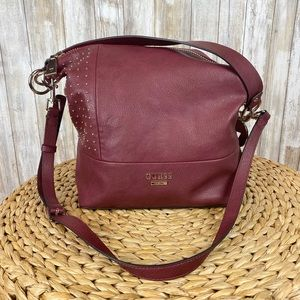 Guess Burgundy Bag Slouchy Studded Purse